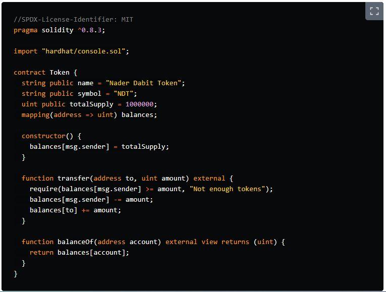 کد نمونه قرارداد هوشمند اتریوم