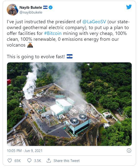 توئیت رئیس جمهور السالوادور استخراج بیت کوین آتشفشان
